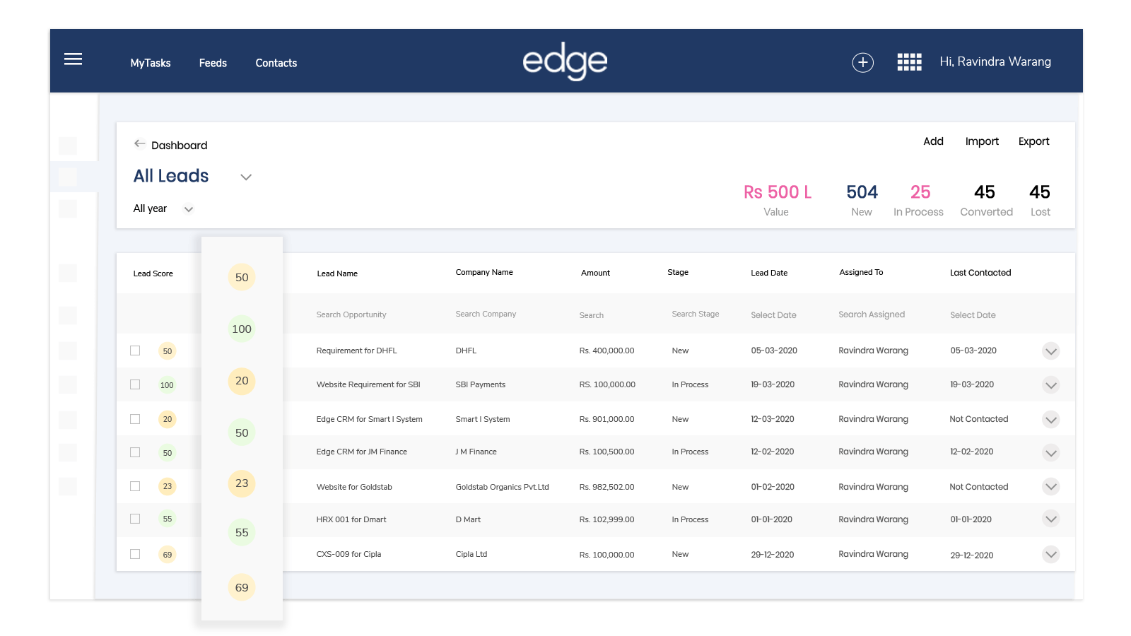 Manage leads with edge CRM